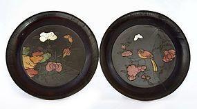 2 17C Chinese Soapstone Embellish Bird Flower Lacquer Dish