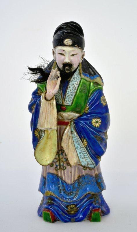 Late 19C Chinese Beijing Silver Enamel Scholar Figurine Figure Mk