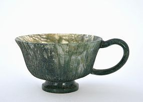 19C Chinese Mughal Style Moss Agate Carved Cup