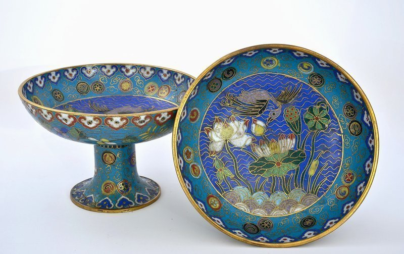 2 Late 18C Chinese Cloisonne Enamel Altar Dish Plate