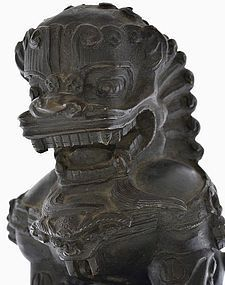 19C Chinese Bronze Foo Fu Dog Lion Figurine