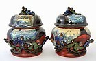 2 Japanese Sumida Gawa Covered Jar Marked