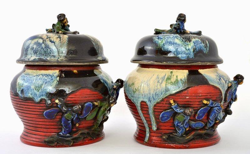 2 Japanese Sumida Gawa Covered Jar Marked
