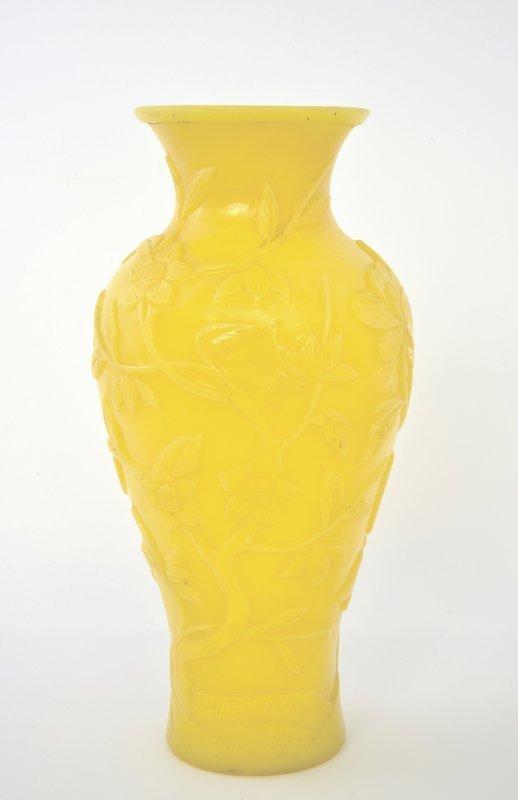 Early 20C Chinese Peking Glass Yellow Vase Plum Tree Blossom Mk