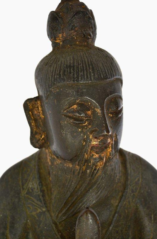 16C Chinese Gilt Bronze Scholar Figurine Figure