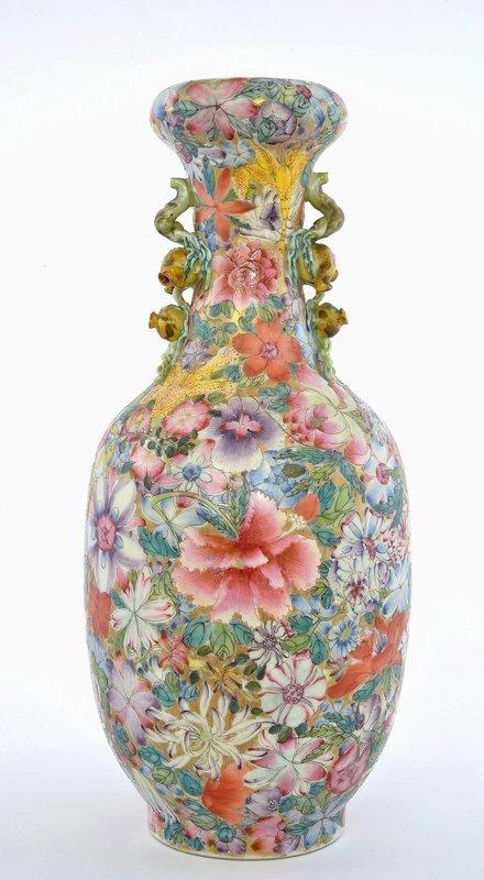 Chinese Famille Rose Mille Fleur Porcelain Vase Pomegranate Ears