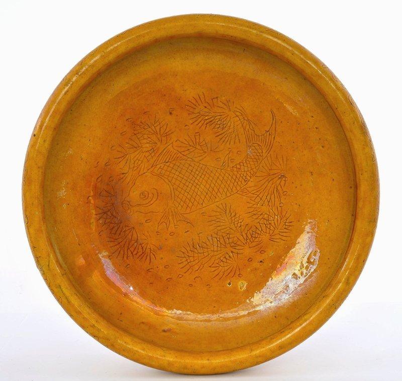 Late 18C Chinese Mustard Yellow Glaze Porcelain Bowl Fish