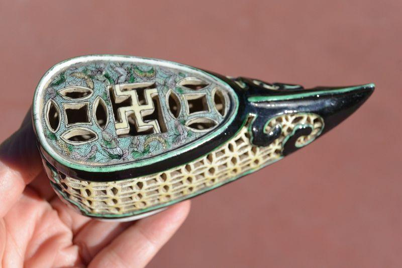 19C Chinese Famille Noire Porcelain Lotus Shoe
