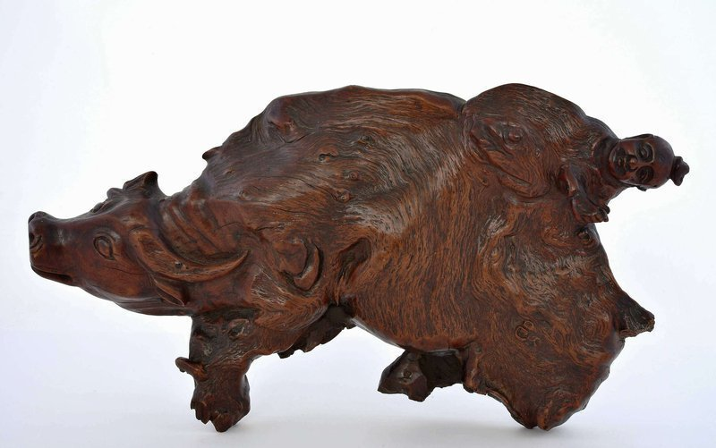 19C Chinese Burl Wood Carved Water Buffalo Boy