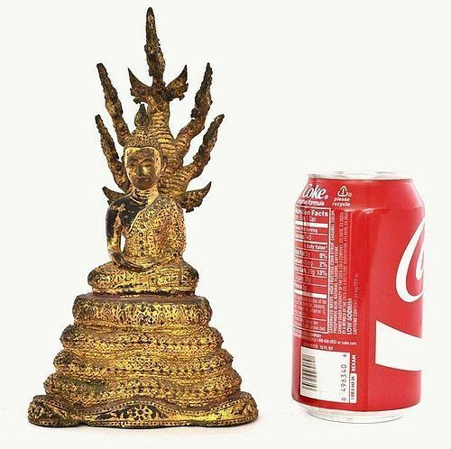 19C Thai Siam Gilt Lacquer Bronze Buddha Figurine