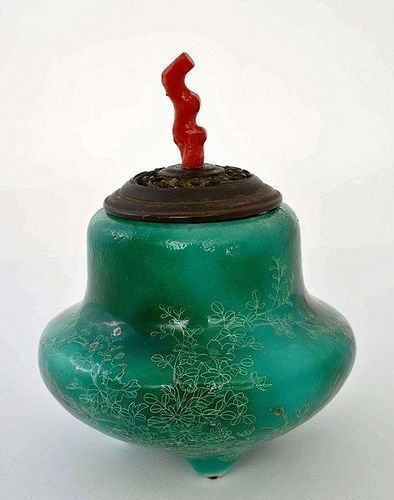 Old Japanese Green Cloisonne Censer Coral Top Wood Cover