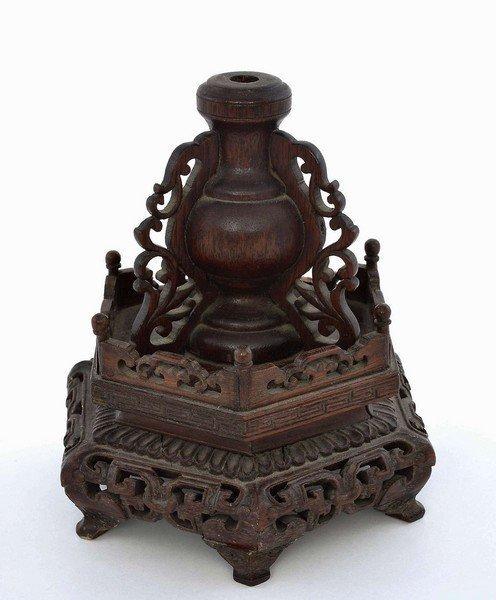 19C Wood Carved Carving Incense Burner Holder