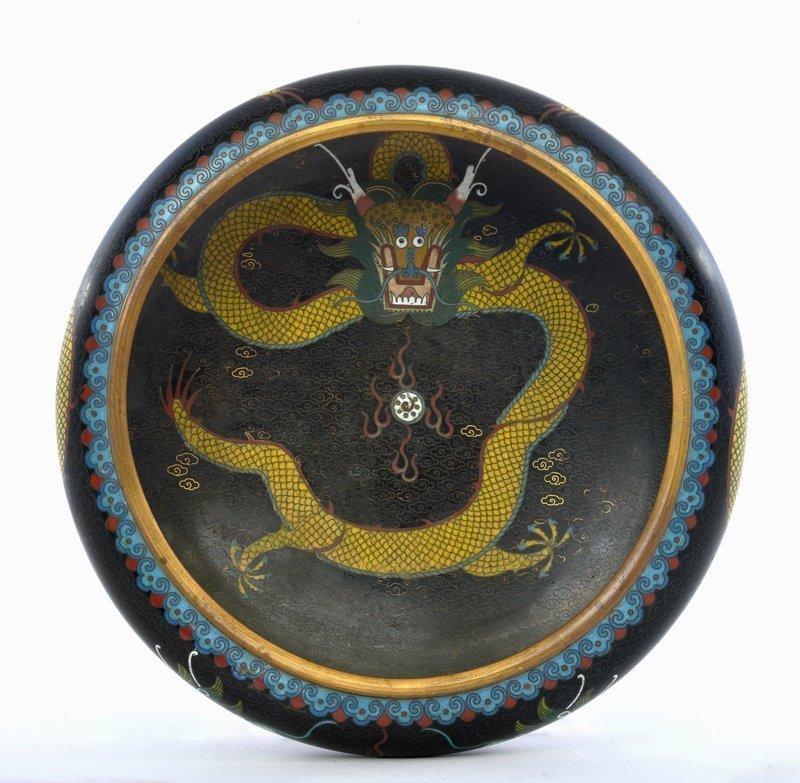 Old Chinese Cloisonne Enamel Dragon Bowl Lao Tian Li