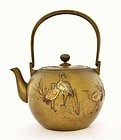 Old Japanese Mixed Metal Bronze Tea Teapot Crane Bird Mk