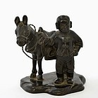 19C Chinese Bronze Boy Donkey Figure Figurine