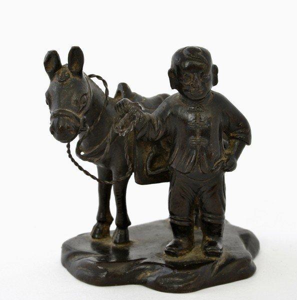 19C Chinese Bronze Boy Donkey Figure Figurine