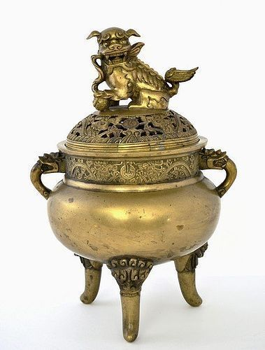19C Chinese Bronze Censer Fu Dog Lion Top
