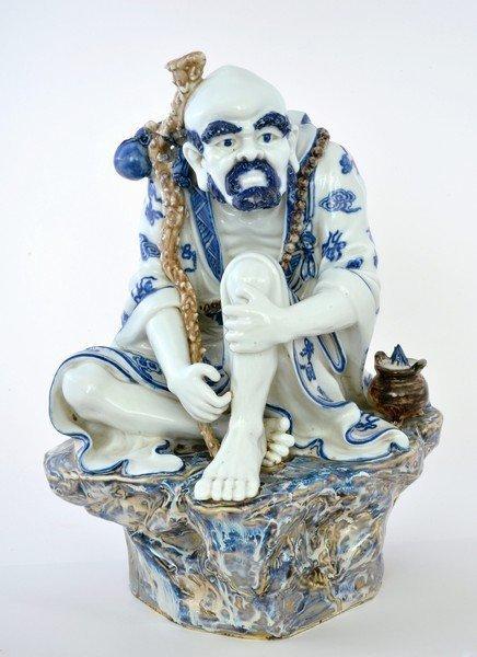 Chinese Blue & White Flambe Porcelain Daruma Damo Figurine