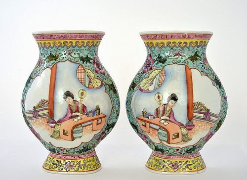 2 Chinese Famille Rose Porcelain Wall Vase Court Lady Figurine