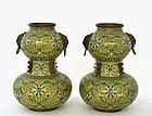 2 Early 20C Chinese Cloisonne Enamel Gourd Vase