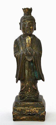 16C Chinese Ming Gilt Bronze Scholar Figure Figurine