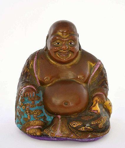 19C Chinese Gilt Bronze Enamel Cloisonne Happy Buddha Figurine