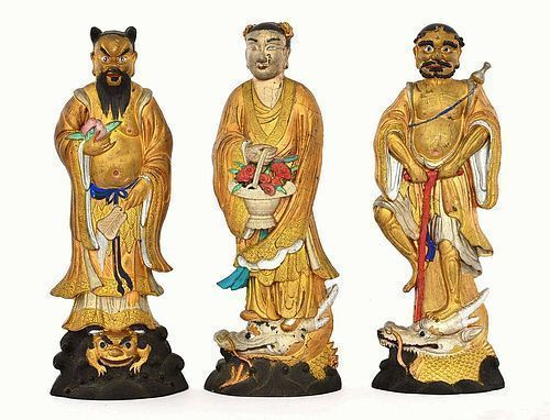 3 Chinese 8 Immortal Ink Cake Scholar  Polychrome Figurine MK