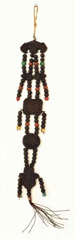 19C Chinese Herb Medicine Bat Plaque Pendant & Bead Necklace