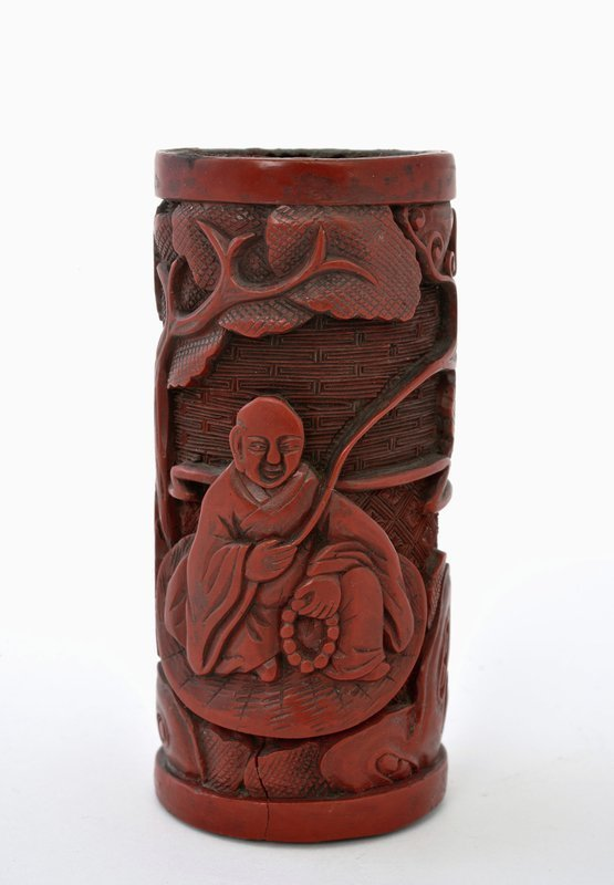 19C Chinese lacquer Cinnabar Lead Body Scholar Brush Holder