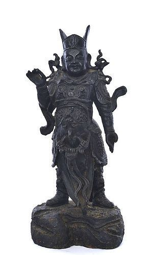 16C Chinese Bronze Temple Guardian Figure Figurine