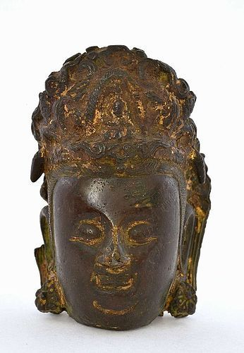 16C Chinese Gilt Bronze Kwan Yin Buddha Head