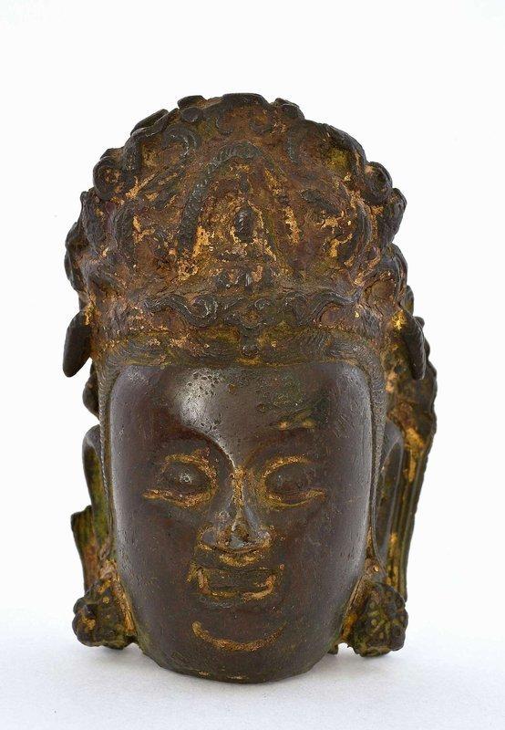 16C Chinese Gilt Bronze Kwan Yin Buddha Head