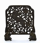 19C Chinese Bronze Scholar Table Screen Beast & Fu Dog Lion Feet
