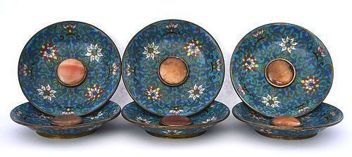 6 19C Chinese Cloisonne Enamel Agate Inlay Tea Dish Tray