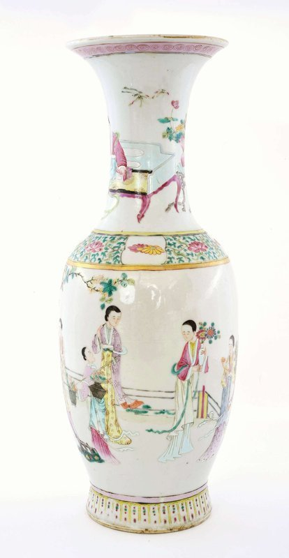 Early 19C Chinese Famille Rose Porcelain Vase Lady Figure Figurine