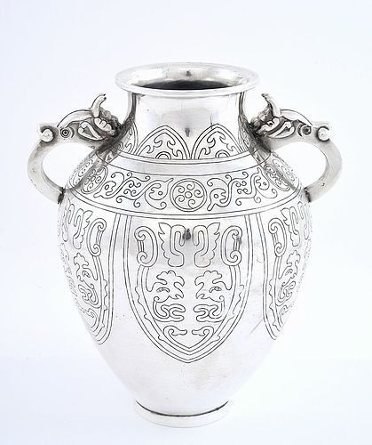 Japanese Sterling Silver Vase Geo Pattern 2 Dragon Ears Mk