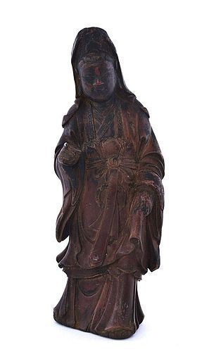 18C Chinese Lacquer Boxwood Carved Carving Quan Yin Buddha Figurine
