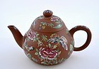 Late 19C Chinese Enamel Yixing Teapot Signed