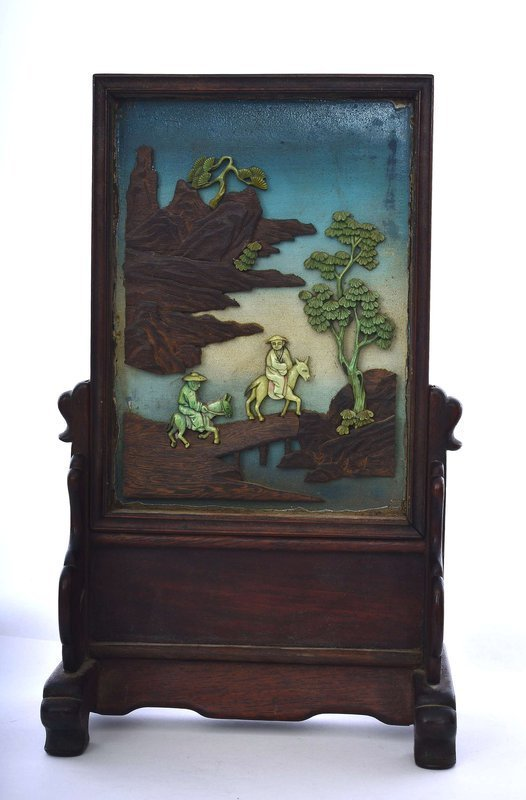19C Chinese Hardwood & Bone Carved Lacquer Inlay Scholar Table Plaque