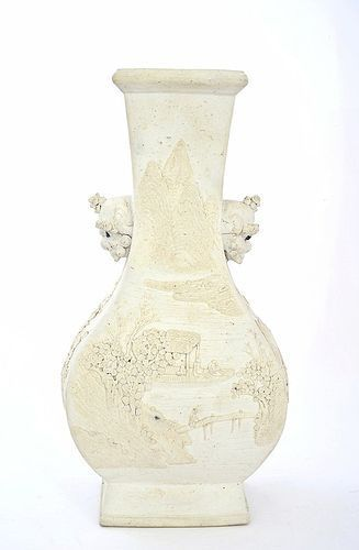 19C Chinese White Glaze Biscuit Flower Vase with Fu Foo Dog lion Ear