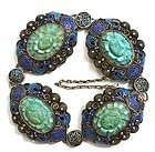 Chinese Silver Enamel Turquoise Carved Bangle Bracelet Mk