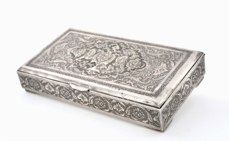 Persian Islamic Iran Ottoman Sterling Silver Box Case Mk