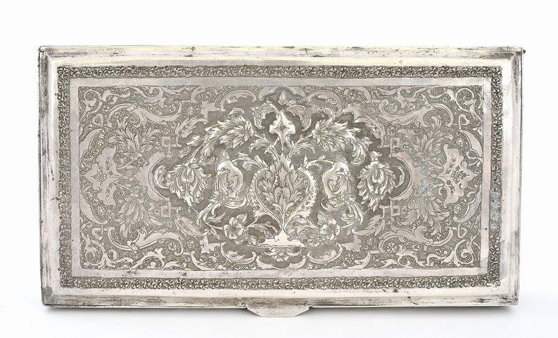 Persian Islamic Iran Ottoman Sterling Silver Box Case Mk