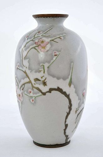Old Japanese Wireless Cloisonne Enamel Vase Plum Blossom