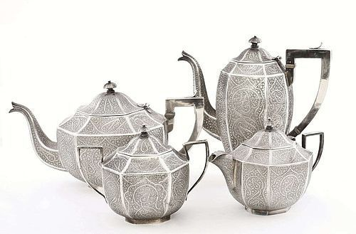 4 India Indian Kashmir Sterling Silver Teapot Tea Set