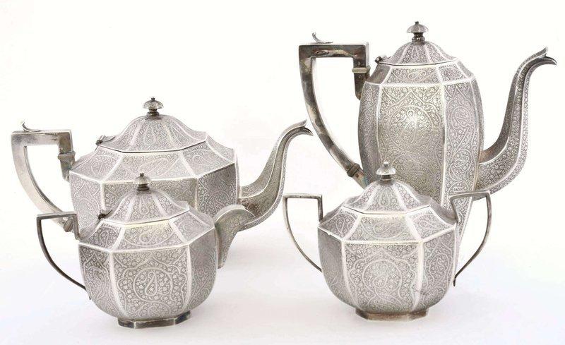 4 India Indian Kashmir Sterling Silver Teapot Tea Set