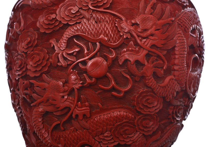 Old Chinese Cinnabar Lacquer Carved Covered Jar Dragon