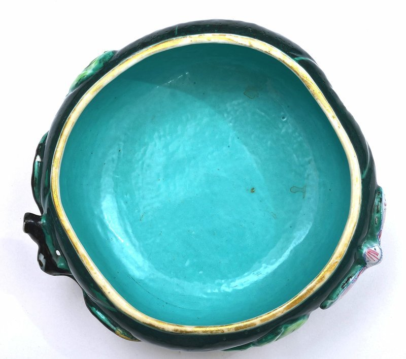 19C Chinese Famille Rose Turquoise Glaze Porcelain Watermelon Bowl