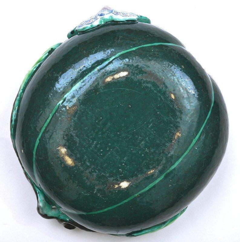 19C Chinese Famille Rose Turquoise Glaze Porcelain Watermelon Bowl