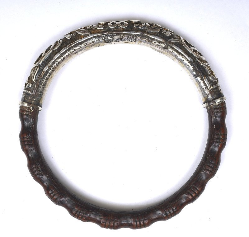 Old Chinese Sterling Silver Aloeswood Carved Bracelet Bangle Mk
